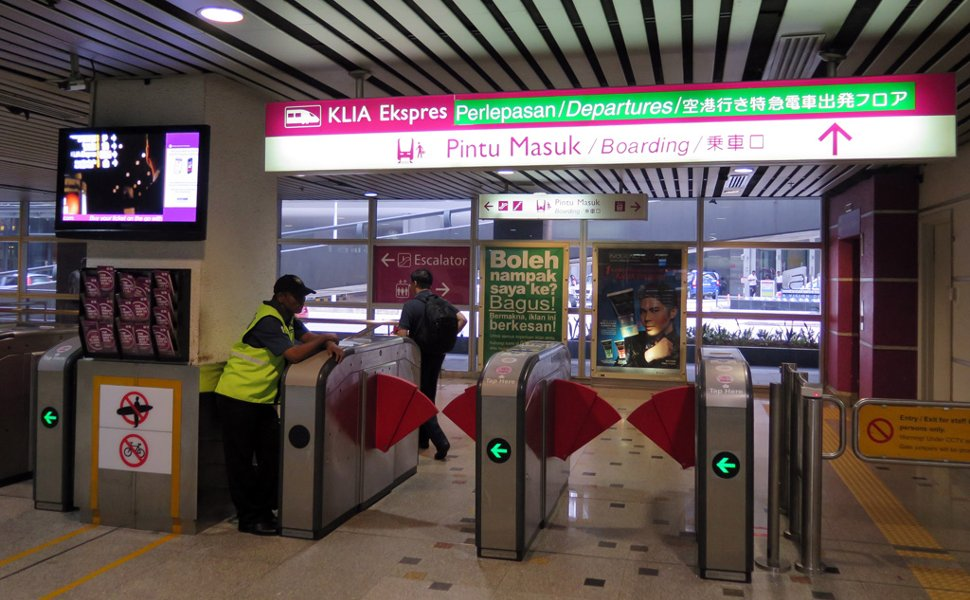 Fare gates next to the ticketing counter