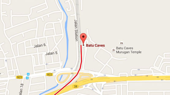 Location of Batu Caves KTM Station