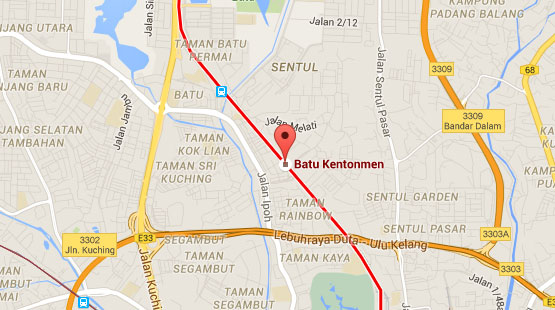 Location of Batu Kentonmen KTM Station