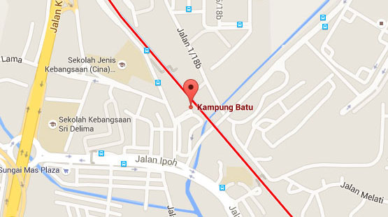 Location of Kampung Batu KTM Station