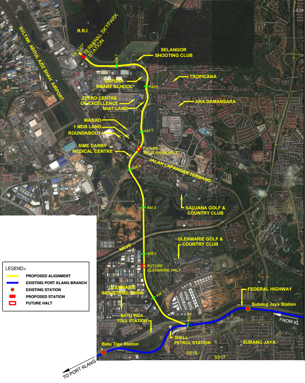 Proposed rail extension from Subang Jaya KTM station to Skypark Terminal