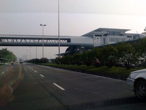 Pedestrian bridge connected to the station