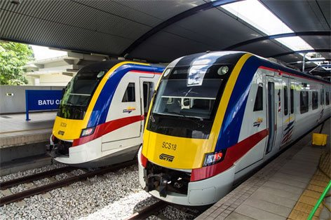 KTM Komuter trains at platform