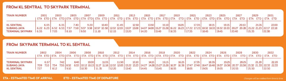 Skypark Link schedule & timetable