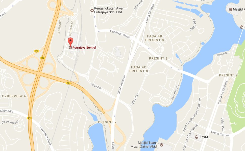 Location map to Putrajaya Sentral