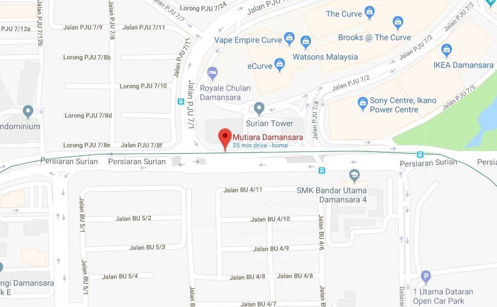 Location of Mutiara Damansara MRT station