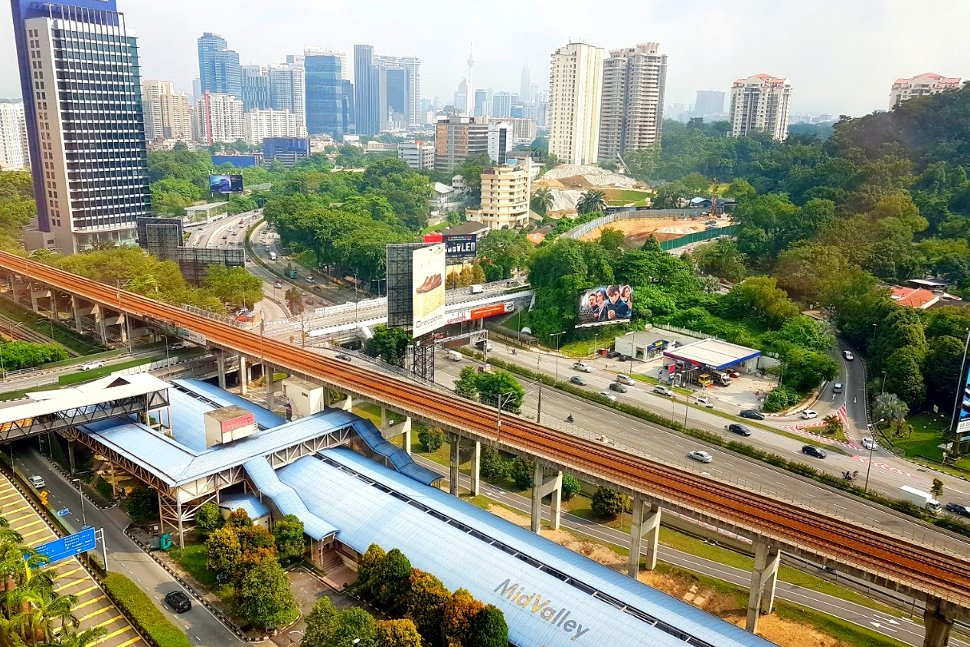 Aerial view of Mid Valley KTM Komuter station