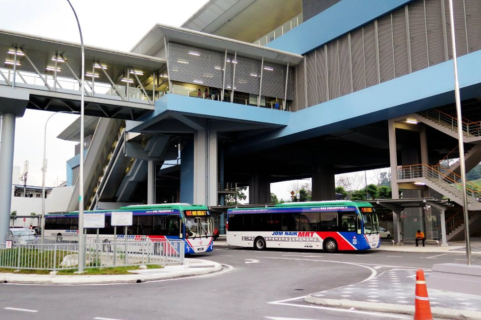 Feeder bus waiting near entrance A