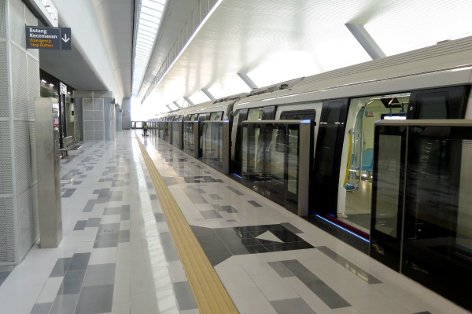 An MRT waiting at station's platform 2