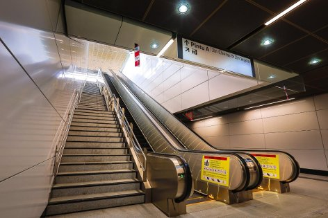 Escalators and stair for access to the ground level