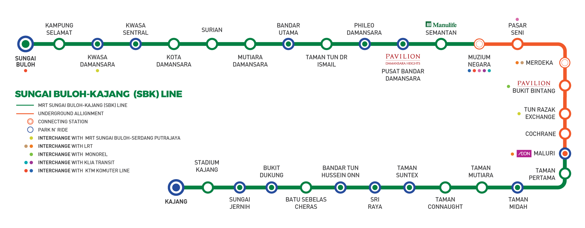 MRT Sungai Buloh – Kajang Line, 51km MRT line with 31 stations from ...