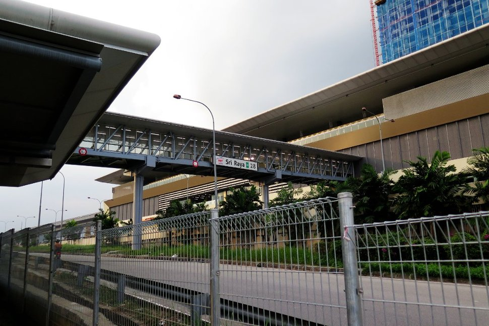 View of the Sri Raya MRT Station with pedestrian bridge
