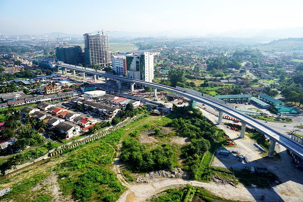 Aerial view of the completed MRT guideway heading towards the Sungai Jernih Station