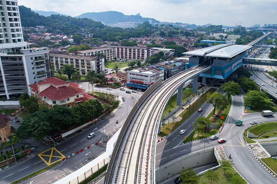 Aerial view of Taman Pertama MRT station