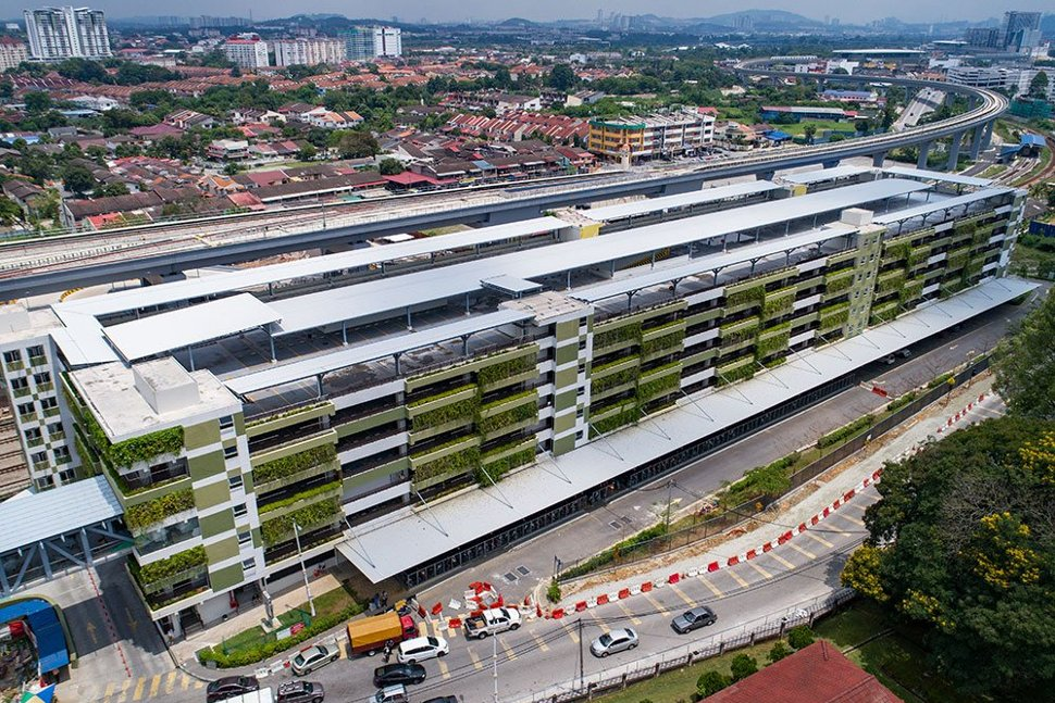 The multi-storey park and ride building that has been built at the Kajang Station. Apr 2017