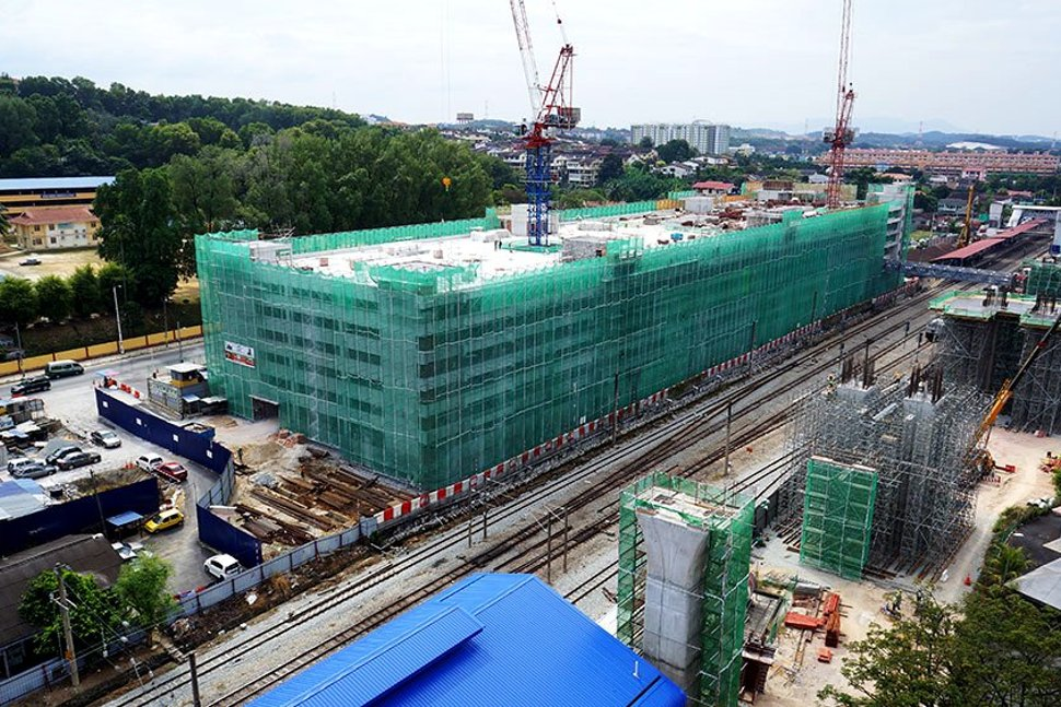 View of the construction of the Kajang Station Multi Storey Park and Ride Building. Feb 2015