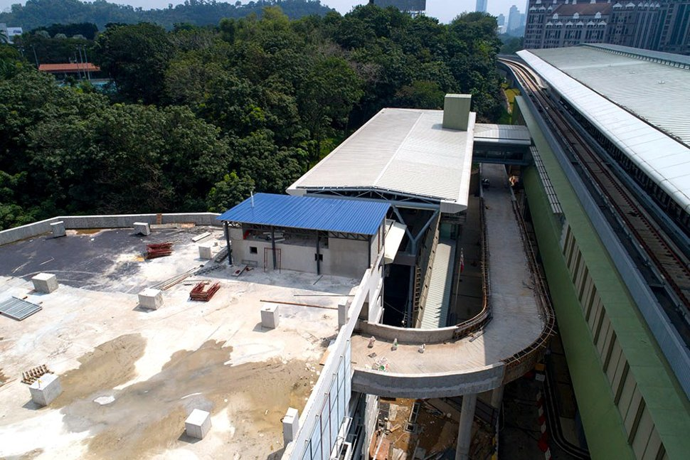 Construction of exit ramp from the Phileo Damansara Station multi-storey park and ride parking facility. (Dec 2016)