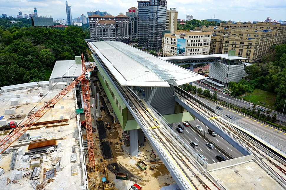 View of the Phileo Damansara MRT Station undergoing construction works. (Oct 2016)