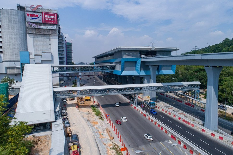 View of the entrance (left) and pedestrian link bridge to the Taman Connaught MRT Station. Jan 2017