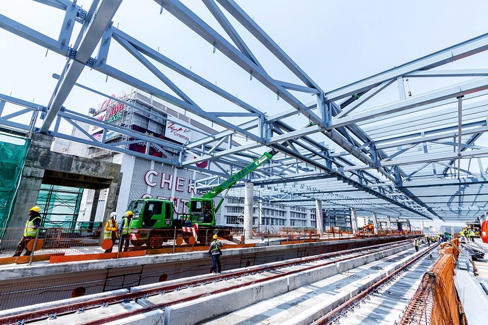 View of the station roof structure being installed at the Taman Connaught Station. Oct 2015