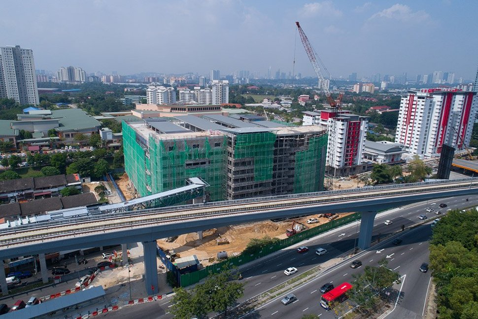 The multi-storey park and ride parking facility undergoing construction at the Taman Midah Station. (Jan 2017)