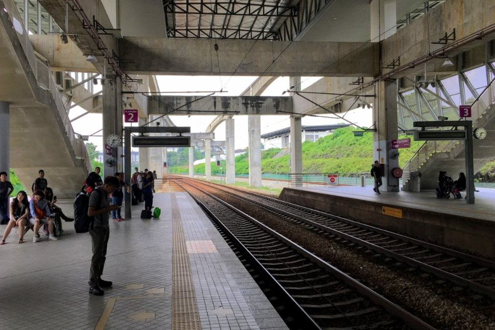 Boarding platforms at the ERL station