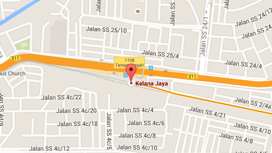 Location of Kelana Jaya LRT Station