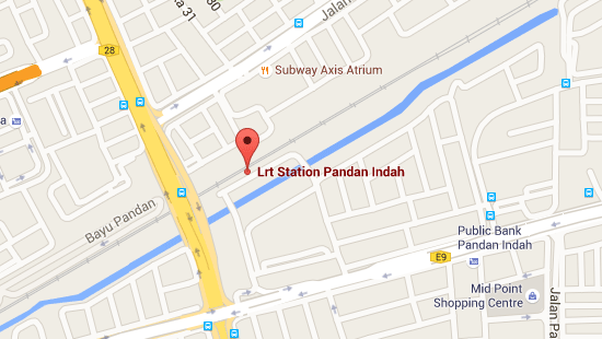 Location of Pandan Indah LRT Station
