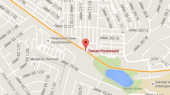 Location of Taman Paramount LRT Station