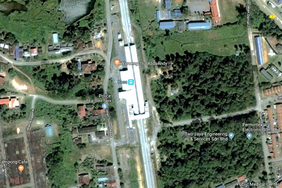 The view of Rasa station with Google Earth