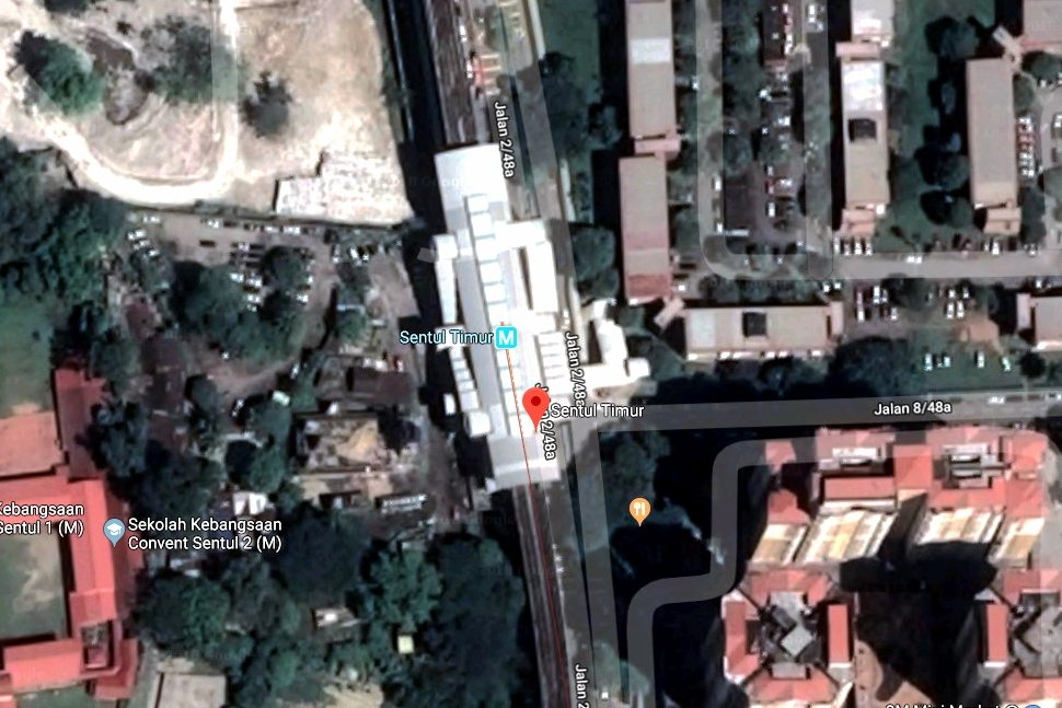 View of Sentul Timur LRT station on Google Earth