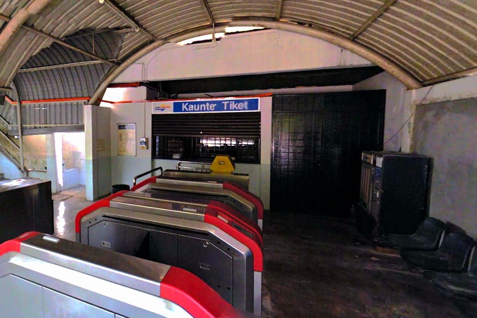 Faregates and ticket counter at the station