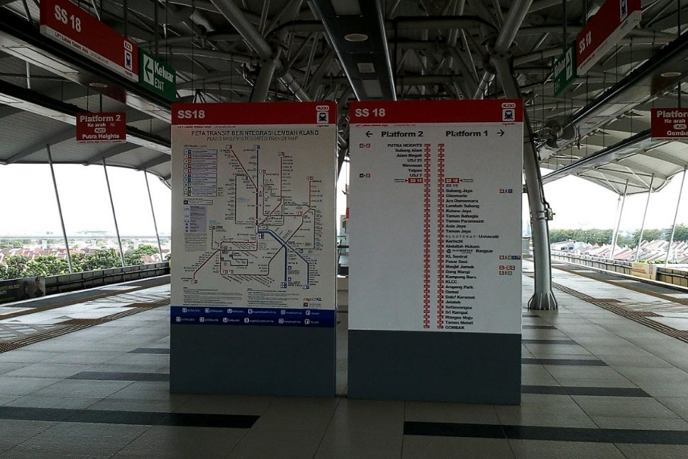Boarding platforms at SS 18 LRT station