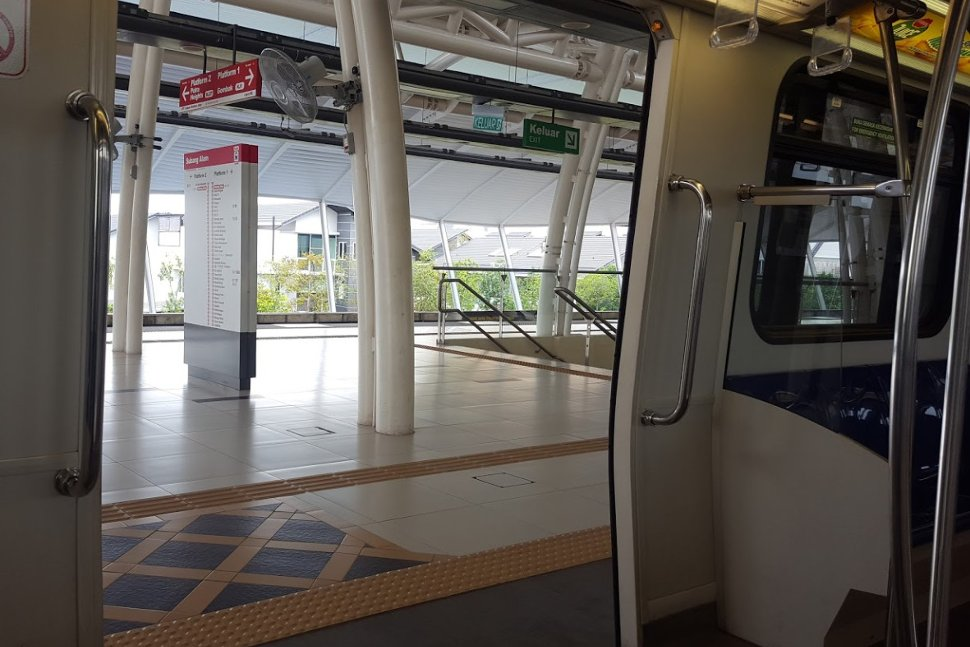 View of boarding platform from the LRT train