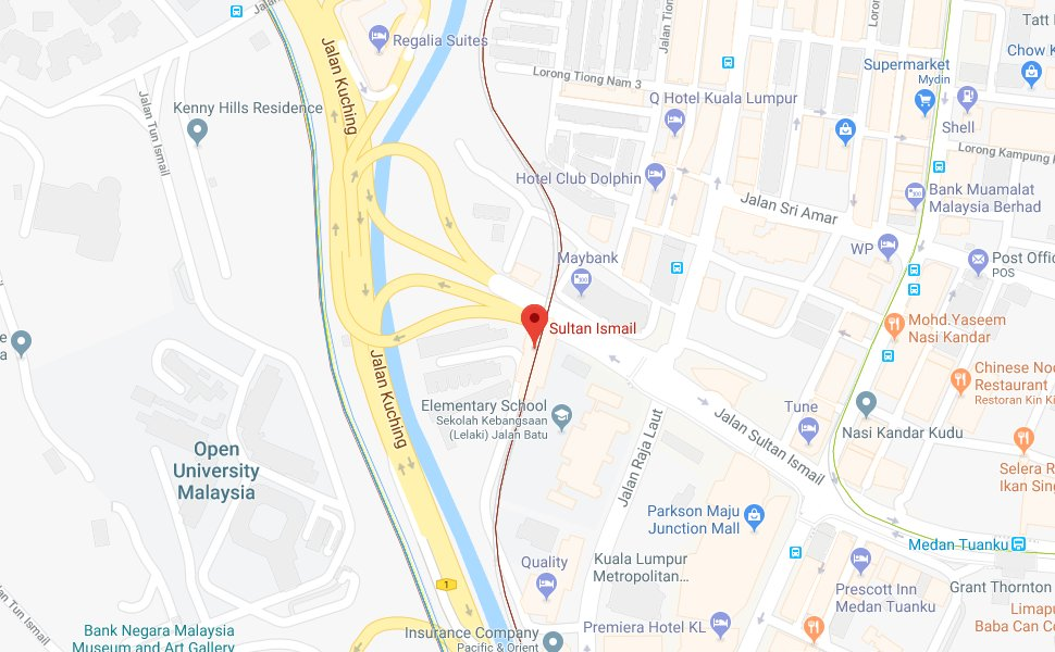 Location of Sultan Ismail LRT Station