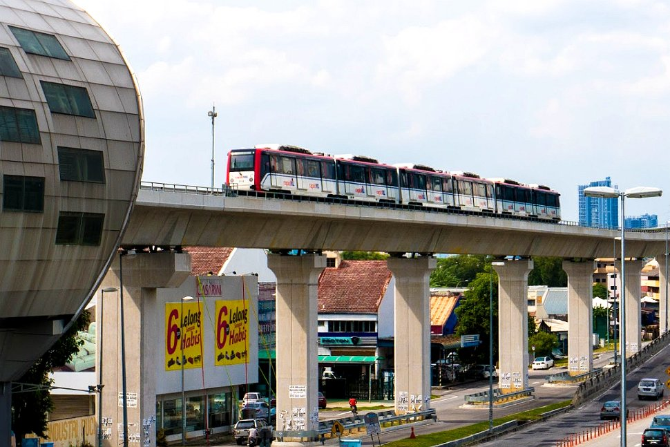 Train approaching the LRT station