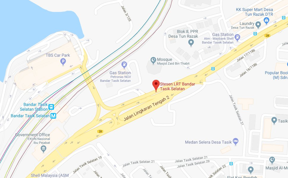 Location of Tasik Selatan LRT Station