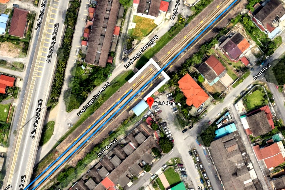 View of Teluk Gadong KTM Komuter station with Google Earth