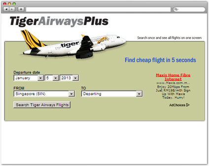 tigerairwaysplus.com Check Air Fare tool