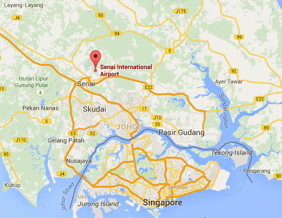 Location of Senai International Airport