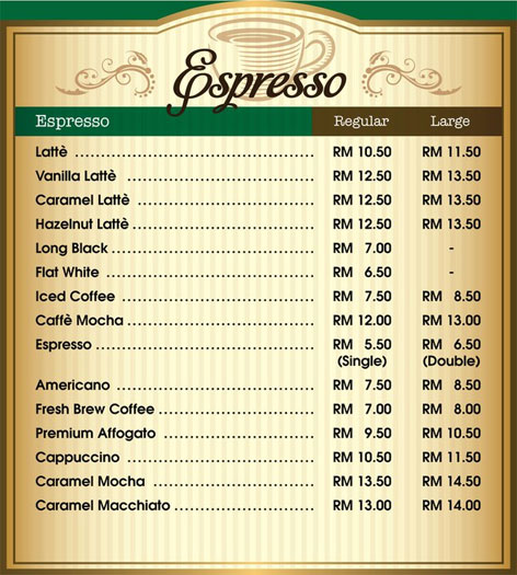 Austin Chase Coffee Espresso Menu