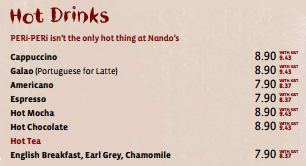 Hot Drinks - Nando's