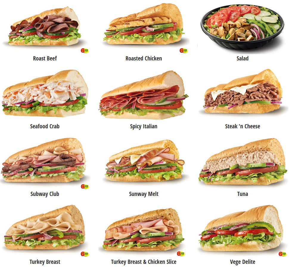 Subway's selection