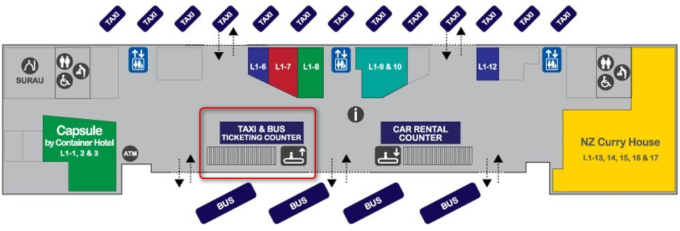 Taxi and bus ticket counters at Transporation Hub (Level 1, gateway@klia2 mall)