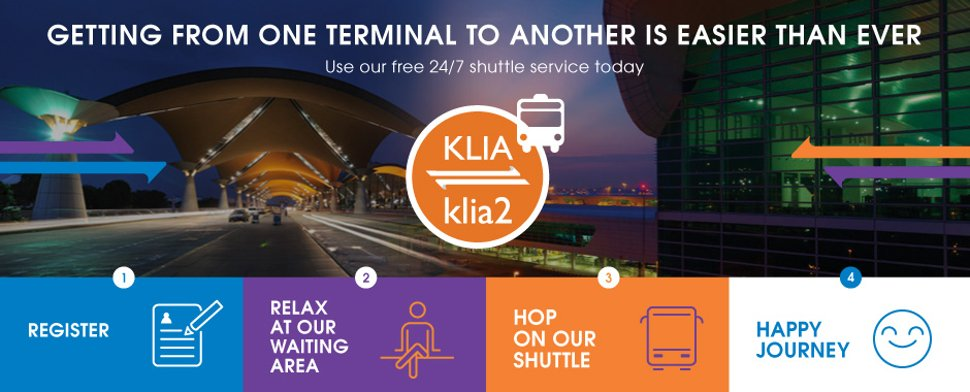 Free 24/7 shuttle service to transfer between KLIA and klia2