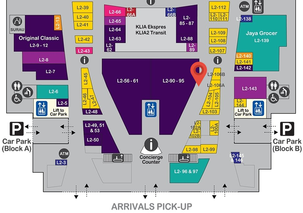 Location of Ages Ago at level 2 of Gateway@klia2 mall