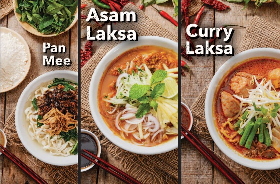 Pan Mee, Asam Laksa, and Curry Laksa