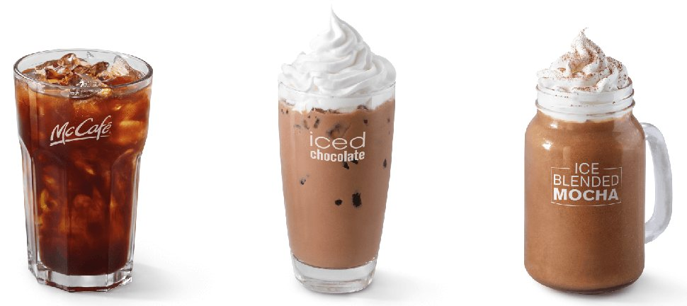 Iced Americano, Iced Chocolate, Iced Blended Mocha