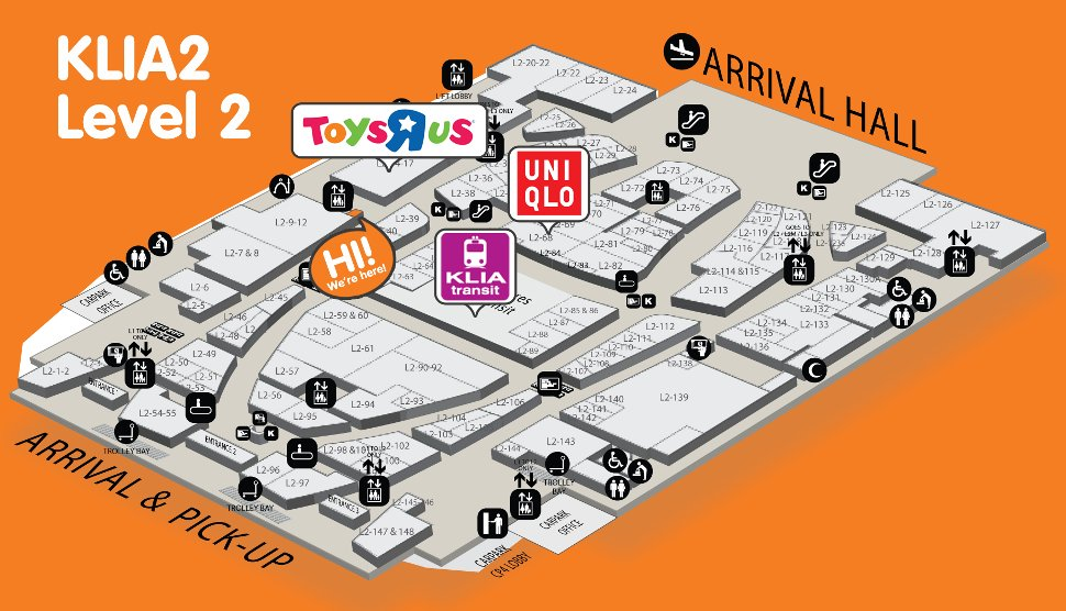 Location of Wiyo outlet at level 2 of Gateway@klia2 mall