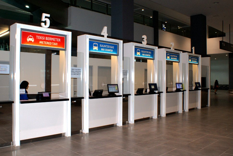 Ticket counters at klia2 transportation hub for ticket purchase